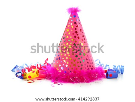 Pink party hat on white background - stock photo