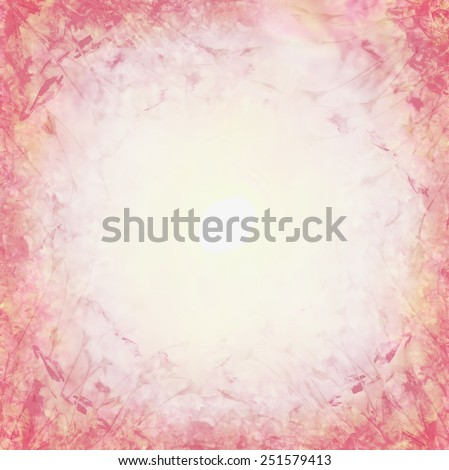 pink pastel floral background, flowers frame - stock photo