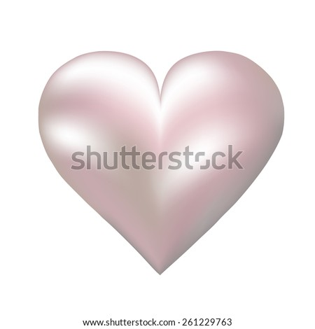 Pink pearl shaped heart isolated on white - stock photo