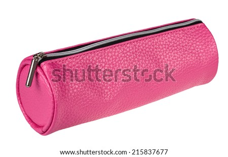 pink pencil case isolated on white background - stock photo