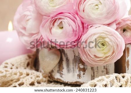 Pink persian buttercup flowers (ranunculus) - wedding arrangement - stock photo