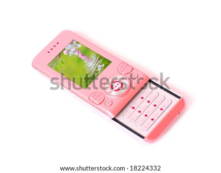 pink phone isolated on white - stock photo