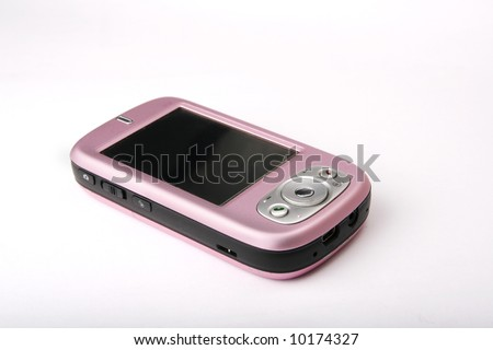 pink phone with white background - stock photo