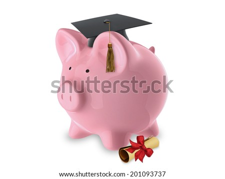 Pink pig bank with graduation hat and diploma - stock photo