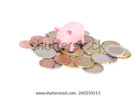 Pink pig on Euro coins isolated on white background - stock photo