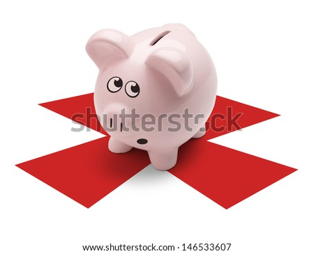 Pink Pig standing on X mark about to be broken open, Isolated on White Background. - stock photo