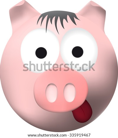 Pink pig with tongue - stock photo