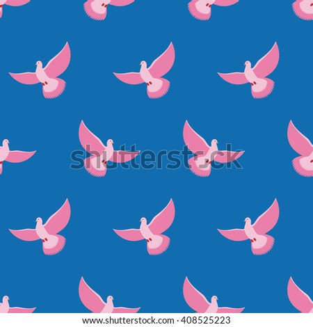 Pink Pigeon Seamless pattern. Pink bird is flying in blue sky background. Fantastic breed pigeons. Ornament for baby fabrics - stock photo