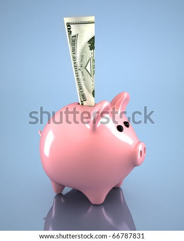 Pink piggy bank and dollar in it - 3d render - stock photo
