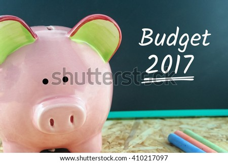 pink piggy bank and word budget 2017 on blackboard - stock photo