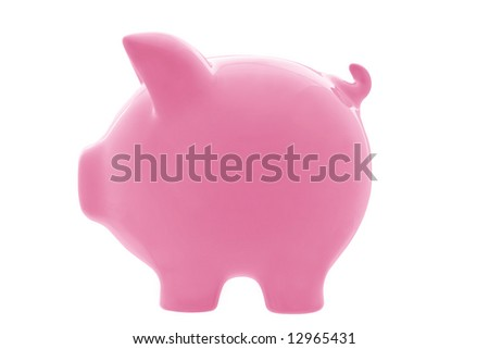 Pink piggy bank, in profile view, isolated on white.  Clipping path included. - stock photo