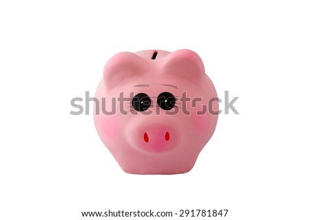 pink piggy bank isolated on white background, have clipping path comfortable to use. - stock photo