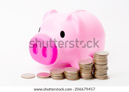 Pink piggy bank isolated with white background - stock photo