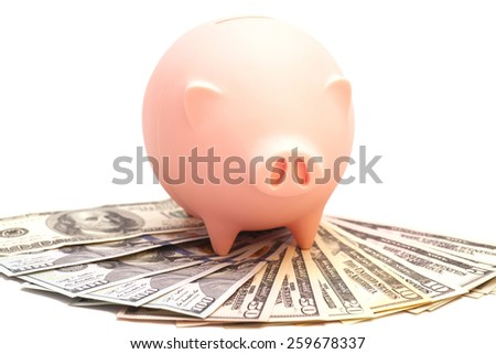 Pink piggy bank on dollars isolated - stock photo