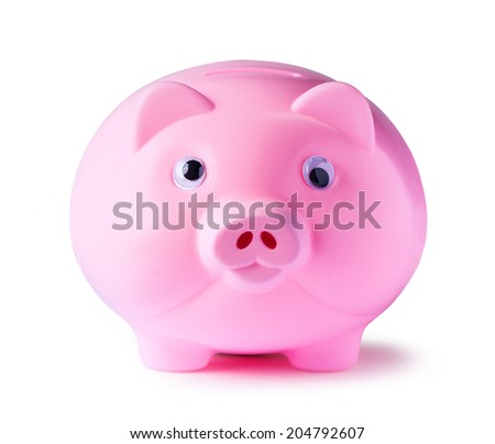 Pink piggy bank onwhite background with clipping path - stock photo