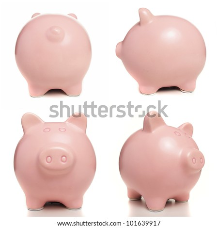 pink piggy bank over white background - stock photo