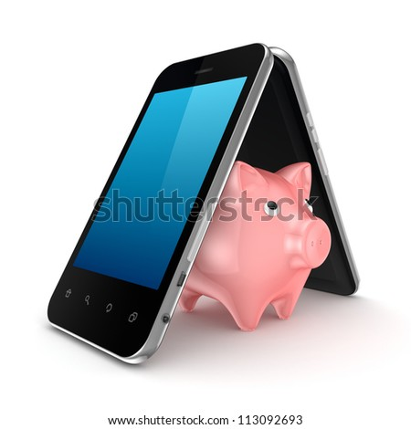 Pink piggy bank under the roof made of modern mobile phones.Isolated on white background.3d rendered. - stock photo