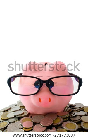 pink piggy bank wear glasses on coin with copy space, white background isolated, have clipping path comfortable to use - stock photo