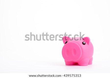 Pink piggy bank White background - stock photo