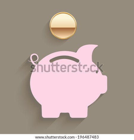 Pink piggy bank with a gold coin suspended above the slot in a savings and investment planning concept illustration - stock photo