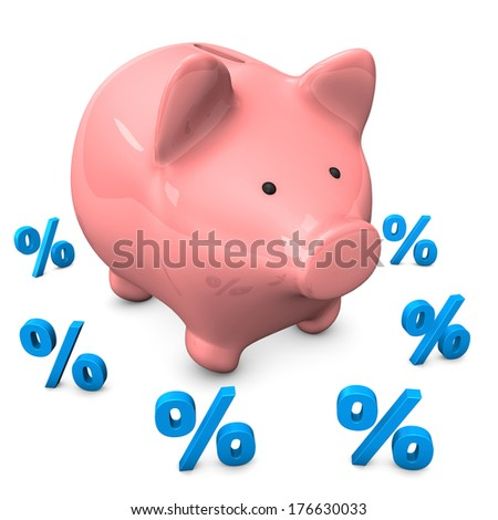 Pink piggy bank with small percentages on the white background. - stock photo