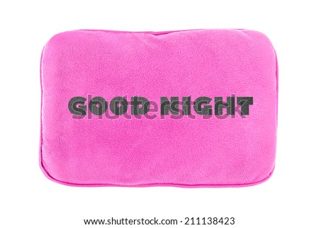 Pink pillow with text isolated on white background. - stock photo