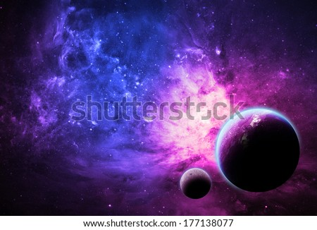 Pink Planet and Nebula - Elements of this image furnished by NASA - stock photo