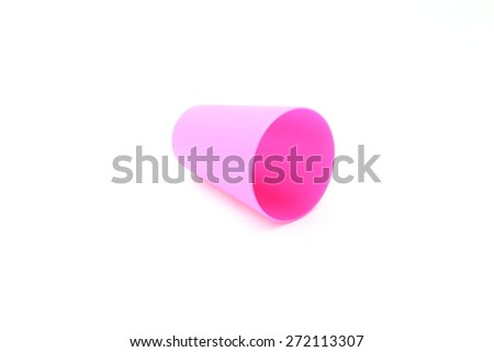 pink plastic cup on white background - stock photo