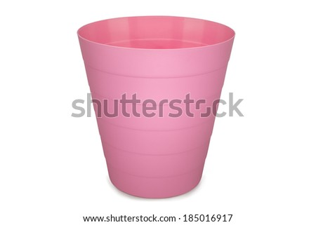 pink plastic empty wastebasket isolated on white background - stock photo
