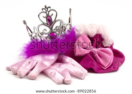 Pink princess accessories; crown, gloves and bag - stock photo