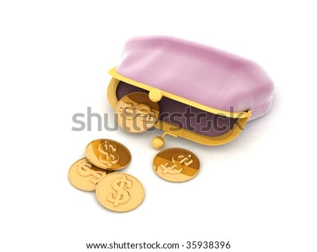 Pink purse and money - stock photo