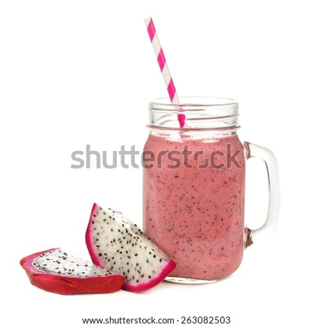 Pink raspberry, dragon fruit smoothie in jar glass with fruit slices isolated on white - stock photo