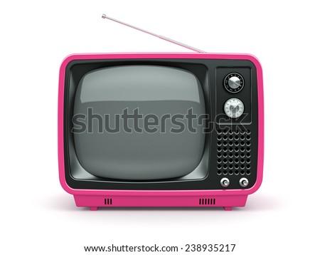 Pink retro TV on white background  - stock photo
