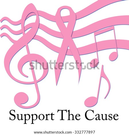 pink ribbon and music symbols on white illustration - stock photo