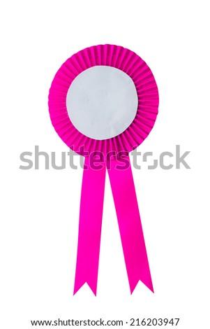 Pink Ribbon isolated on white. - stock photo