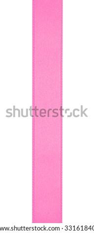 Pink ribbon isolated on white - stock photo