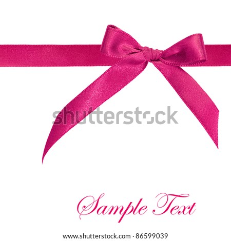 Pink ribbon isolated on white background - stock photo