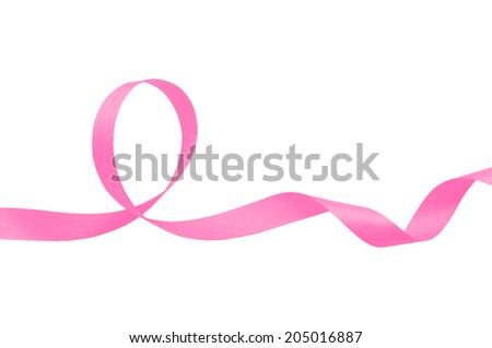 Pink ribbon on a white background with clipping paths. - stock photo