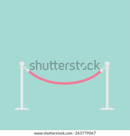 Pink rope barrier stanchions turnstile Flat design  - stock photo