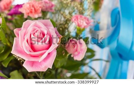 pink rose flower decoration - stock photo