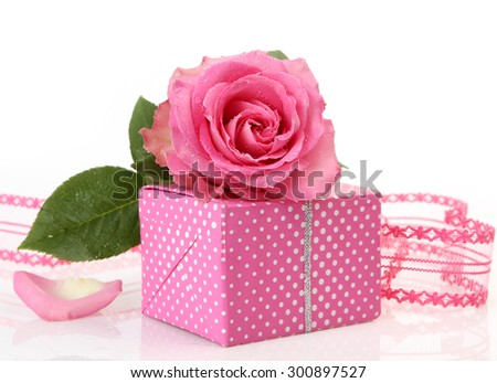 Pink Roses and a box with gift - stock photo