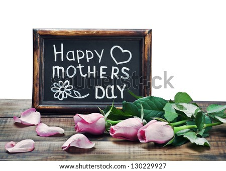 pink roses and congratulations on Mother's Day on a white background - stock photo