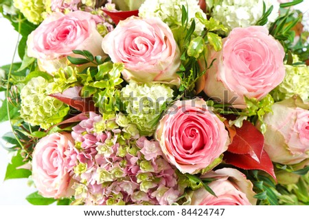 pink roses. beautiful flowers bouquet - stock photo