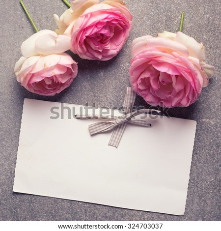 Pink roses  flowers and empty tag for your text on grey background. Selective focus is on tag. Square image. - stock photo