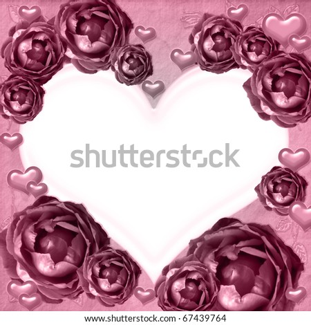Pink roses heart frame in vintage style - stock photo