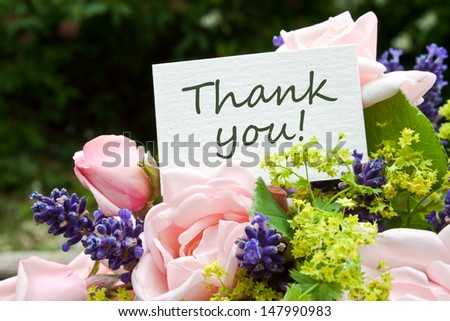 pink roses, lavender and card with lettering thank you/roses/thank you - stock photo