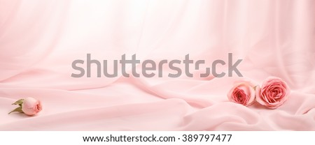 pink roses on soft silk - stock photo