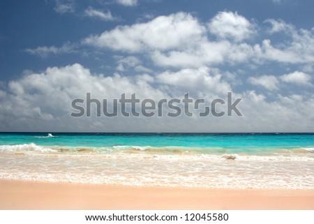 Pink sandy beaches of Bermuda - stock photo