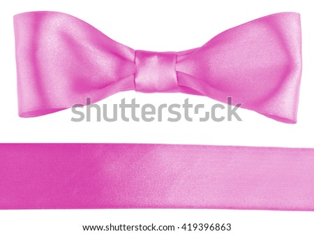 Pink satin bow and ribbon isolated on white - stock photo