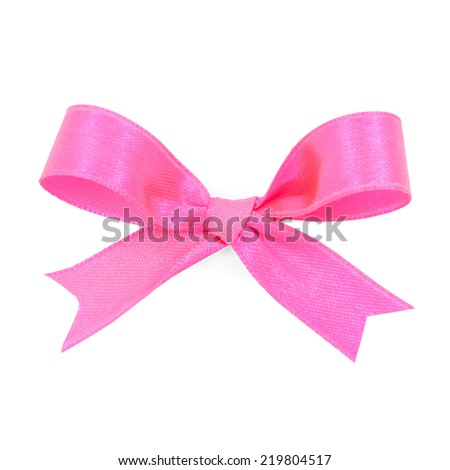 Pink satin gift bow ribbon, file includes a excellent clipping path - stock photo